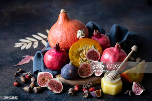 autumn vegetables and fruit - anna verdina stock photos and pictures