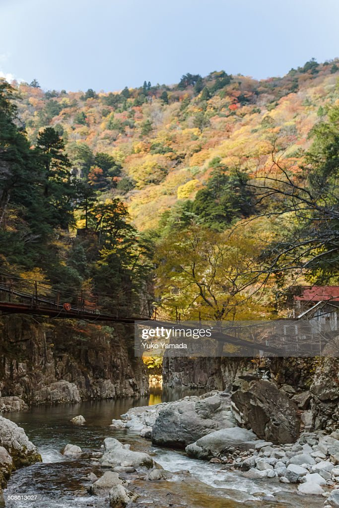 Autumn view of Near Kurobuchi in Sandankyo Gorge : Stock Photo