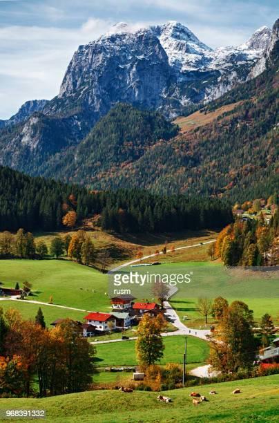 autumn view of ramsau bei berchtesgaden, bavarian alps, germany - berchtesgadener land stock photos and pictures