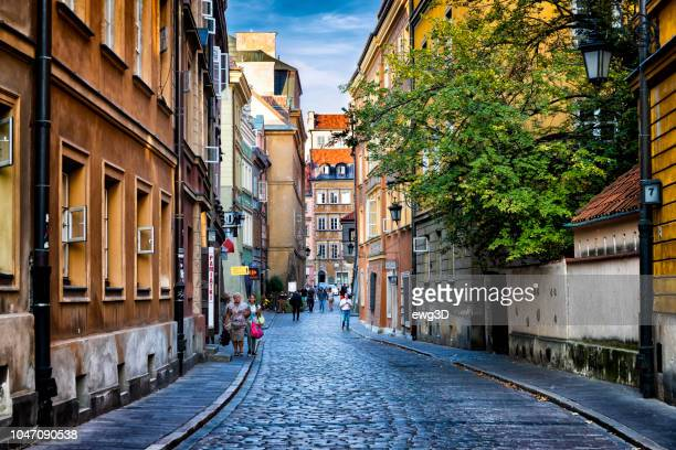 autumn view of the waski dunaj street in warsaw's old town, poland - warsaw stock pictures, royalty-free photos & images