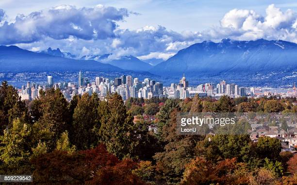 autumn view of vancouver city, canada - vancouver canada stock photos and pictures