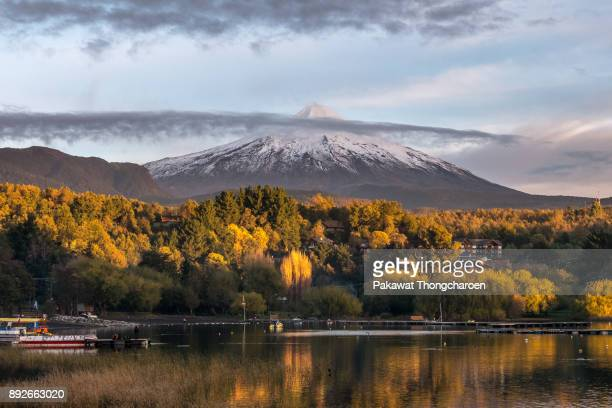 Autumn View of Villarrica Volcano at Sunset, Chile