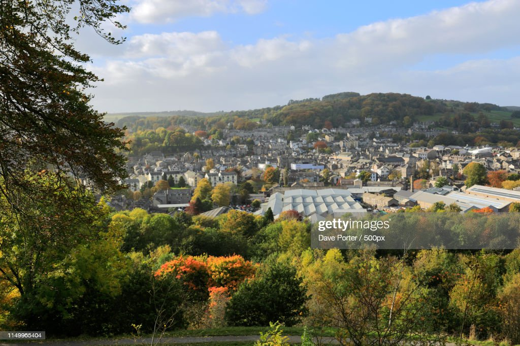 Autumn View Over Kendal Town From Kendal Castle, Cumbria, Englan : Stock Photo