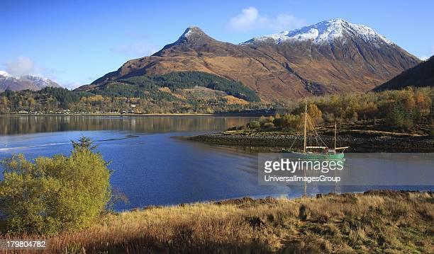 Autumn view towards Pap of Glencoe from Loch Leven, Glencoe, West Highlands, Scotland, United Kingdom.