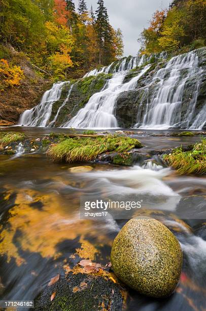autumn waterfall rock - cape breton island stock pictures, royalty-free photos & images