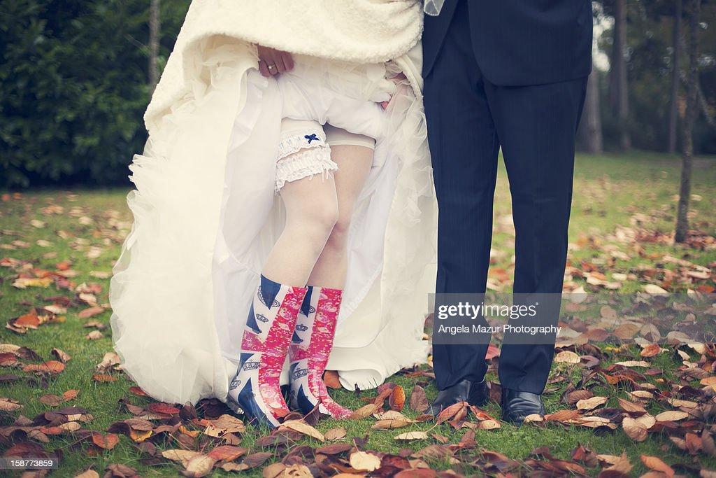 Autumn Wedding in wellies. : Stock Photo