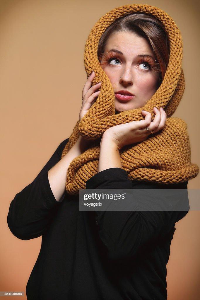 Autumn woman fresh girl glamour eye-lashes : Stock Photo
