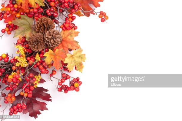autumn wreath - thanksgiving decoration stock pictures, royalty-free photos & images