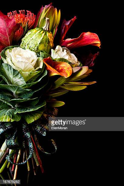 Autumnal bouquet against a black background