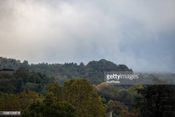 A autumnal colorful forest up the hill Impressions of the Fall in the capital of Piedmont Turin in Northern Italy on 1st November 2018