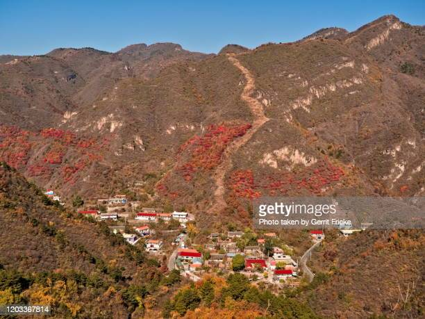 autumnal landscape mountains around beijing with chinese great wall - 太行山脈 ストックフォトと画像