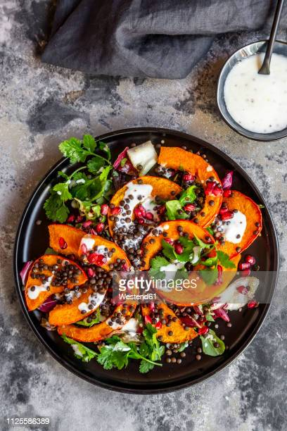 autumnal salad with fried pumpkin, lentils, radicchio, pomegranate seeds, leaf salad and parsley with dressing - flat leaf parsley stock pictures, royalty-free photos & images