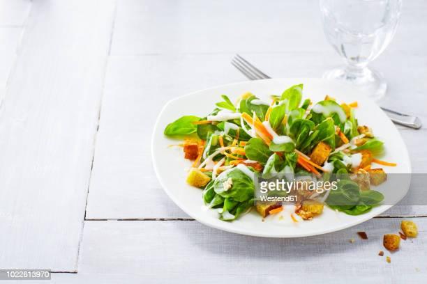 autumnal salad with lamb's lettuce, carrots, slaw, croutons and walnuts - insalata foto e immagini stock