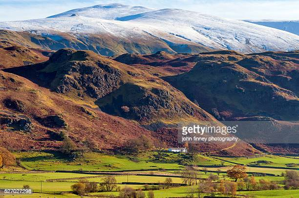 autumnal snow in the english lake district national park. uk. europe. - ambleside stock photos and pictures