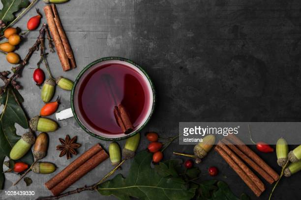autumnal still life with mulled wine - christmas still life stock pictures, royalty-free photos & images