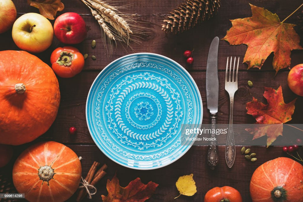 Autumnal Table Setting For Halloween Or Thanksgiving Day : ストックフォト