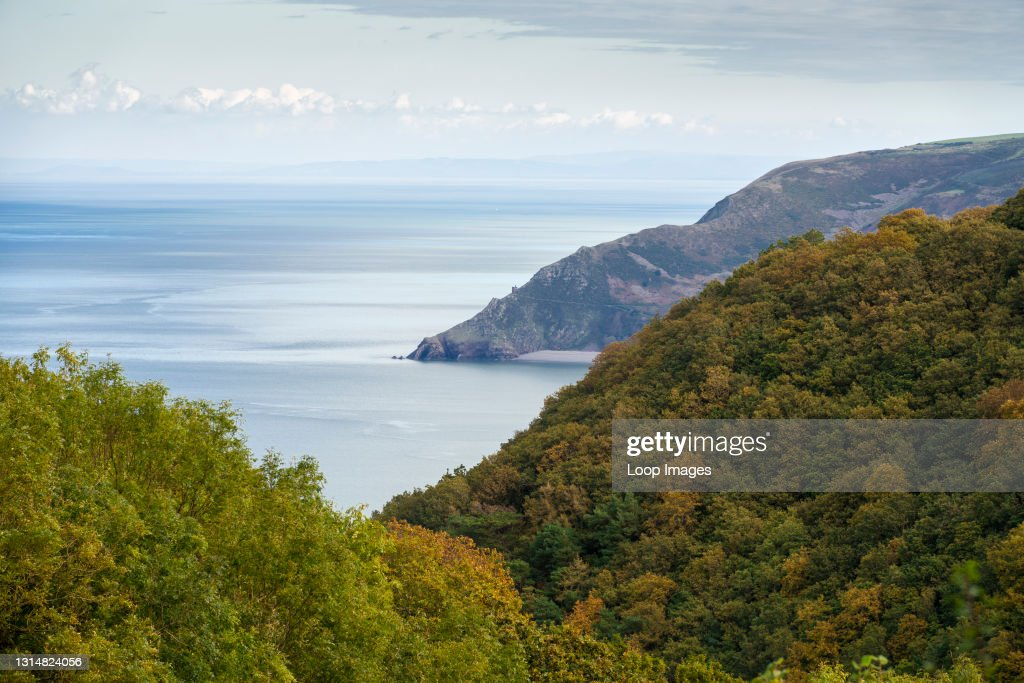 Autumnal view over Culbone and Yearnor Wood to Bossington Hill and the Bristol Channel in the Exmoor National Park : News Photo