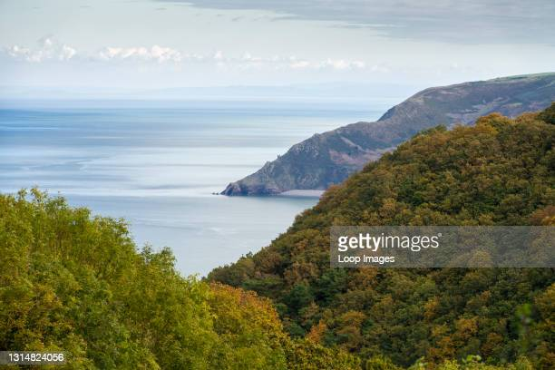 Autumnal view over Culbone and Yearnor Wood to Bossington Hill and the Bristol Channel in the Exmoor National Park.