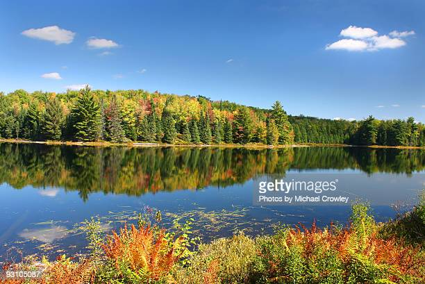 autumn's beauty on mirror lake - mirror lake stock pictures, royalty-free photos & images