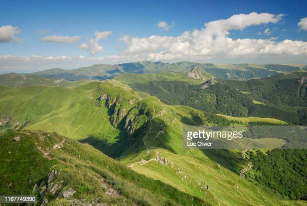 auvergne, cantal, the cantal mountains, top of the puy mary - auvergne stock pictures, royalty-free photos & images