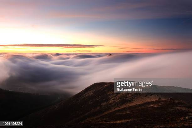 auvergne magical volcano at sunset - auvergne stock pictures, royalty-free photos & images