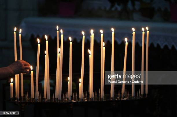 Auxerre cathedral dedicated to Saint Stephan. Church candles. France.