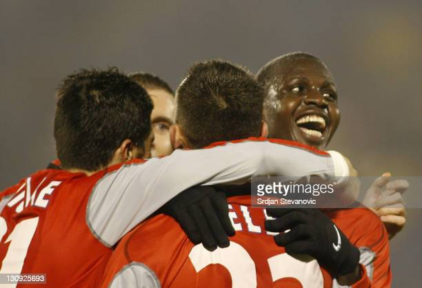 Auxerre Gauthier Akale celebrate his goal with Ireneusz Jelen during Uefa Cup Group A match between Partizan and Auxerre at stadium in Belgrade...