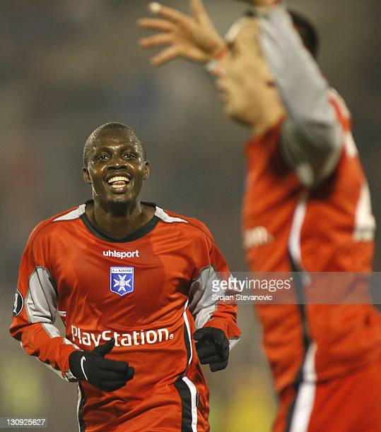 Auxerre Gauthier Akale left celebrate the victory over Partizan Belgrade witj Ireneusz Jelen right during Uefa Cup Group A match between Partizan and...
