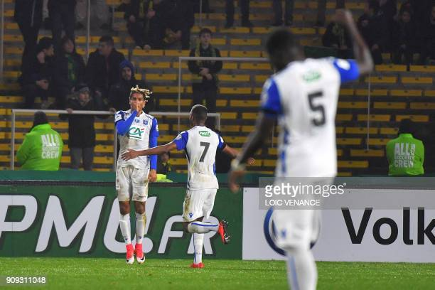 Auxerre's French defender Mickael Tacalfred celebrates after scoring during the French Cup round of 16 football match FC Nantes vs AJ Auxerre at the...