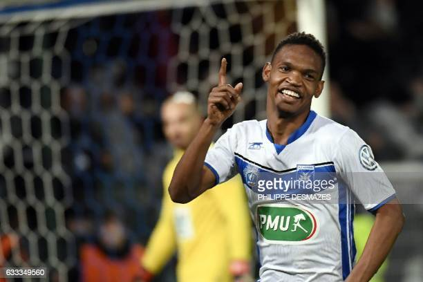 Auxerre's French forward Kenji Boto jubilates at the end of the French Cup football match between AJ Auxerre and AS SaintEtienne on February 1 at the...