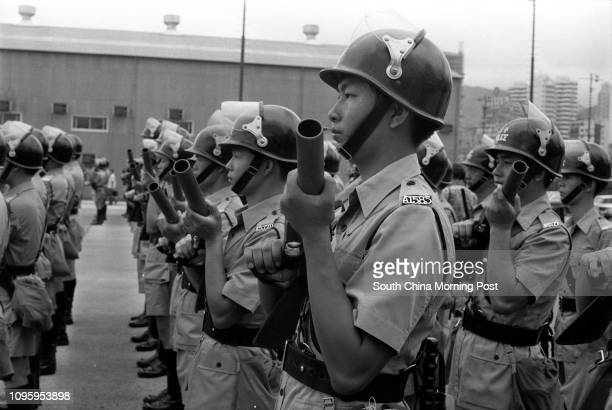 Auxiliary police officers attached to the Kowloon East Emergency Unit at a passingout paradeá29JUL77