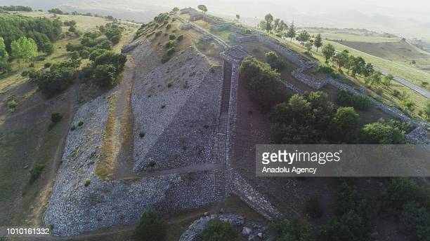 Av view of the ancient city of Hattusha the Hittite Capital located in Bogazkale district of Corum province Turkey on August 03 2018 Hattusha entered...
