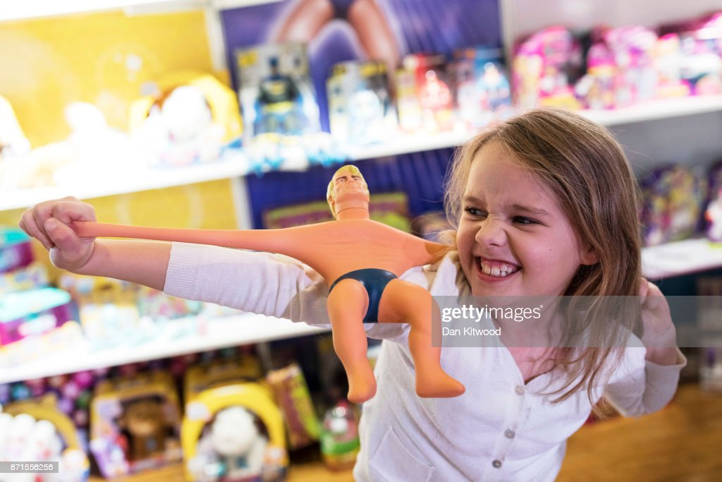 Ava, 8 plays with a 'Stretch Armstrong' toy during a media event announcing the top 12 toys for christmas at St Mary's Church in Marylebone on November 8, 2017 in London, England. The Toy Retailers Association's Dream Toys chart, is an independent list of the predicted Christmas best-selling gifts for children.