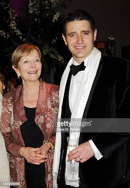 Ava Astaire McKenzie daughter of Fred Astaire and cast member Tom Chambers attend an after party celebrating the press night performance of 'Top Hat'...