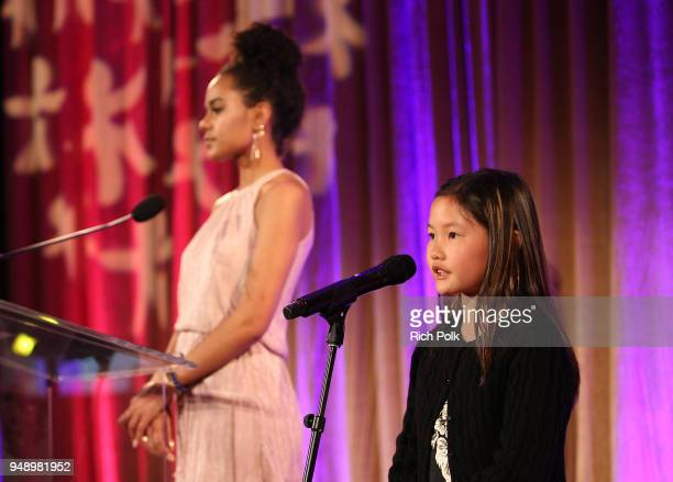 Ava Dash and Katherine Shew speak on stage at the 2018 World of Children Hero Awards Benefit at Montage Beverly Hills on April 19 2018 in Beverly...