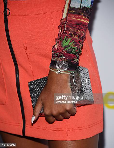 Ava Dash clutch and jewelry detail arrives at Teen Vogue's 13th Annual Young Hollywood Issue Launch Party on October 2 2015 in Los Angeles California
