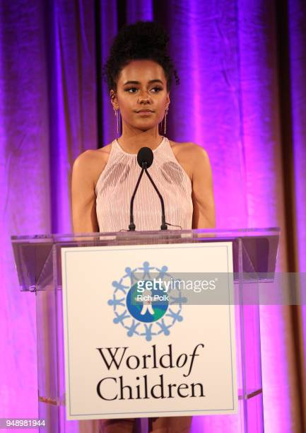 Ava Dash speaks on stage at the 2018 World of Children Hero Awards Benefit at Montage Beverly Hills on April 19 2018 in Beverly Hills California