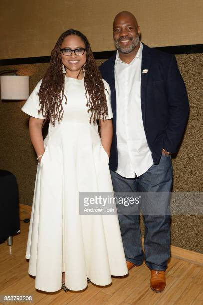 Ava DuVernay and Jelani Cobb pose backstage during the 2017 New Yorker Festival at SIR Stage37 on October 7, 2017 in New York City.