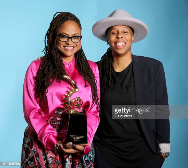 Ava DuVernay and Lena Waithe pose with her award backstage during the 2018 American Black Film Festival Honors Awards at The Beverly Hilton Hotel on...
