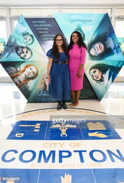Ava DuVernay and Mayor Aja Brown Bring Disney's A Wrinkle In Time to Compton at Douglas F Dollarhide Community Center on March 2 2018 in Compton...