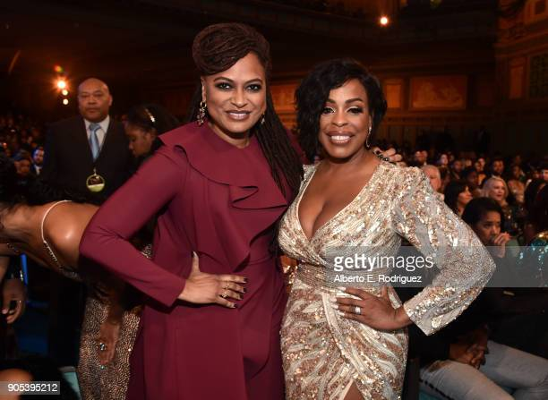 Ava DuVernay and Niecy Nash pose during the 49th NAACP Image Awards at Pasadena Civic Auditorium on January 15 2018 in Pasadena California