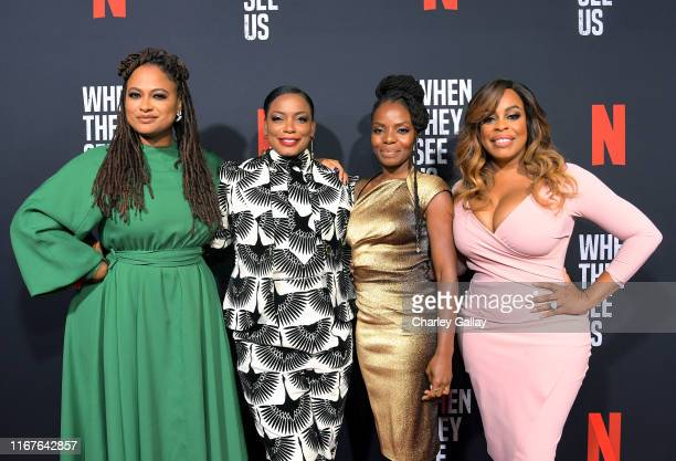 Ava DuVernay Aunjanue Ellis Marsha Stephanie Blake and Niecy Nash attend Netflix's When They See Us Screening Reception at Paramount Theater on the...