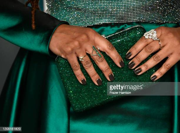 Ava DuVernay, jewelry and clutch detail, attends the 2020 Vanity Fair Oscar Party hosted by Radhika Jones at Wallis Annenberg Center for the...