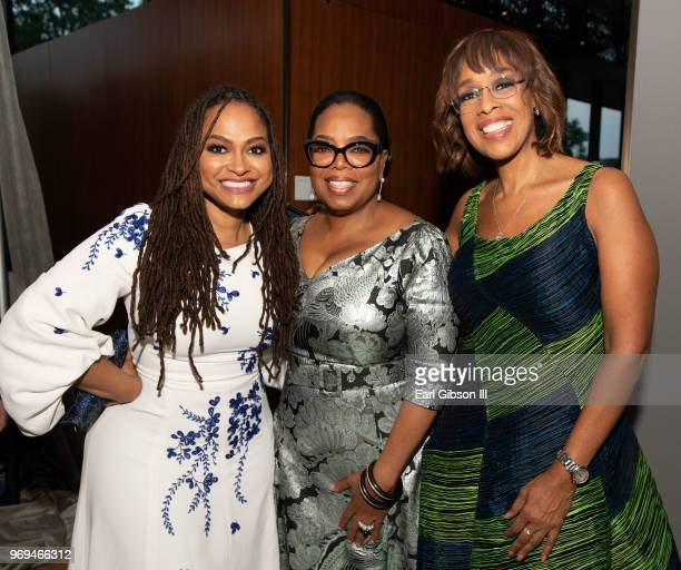 Ava DuVernay Oprah Winfrey and Gayle King pose for a photo at 'Watching Oprah The Oprah Winfrey Show And American Culture' Press Preview at National...