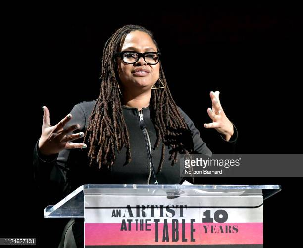 Ava DuVernay speaks at An Artist at the Table Dinner and Program during the 2019 Sundance Film Festival at Utah Film Studios on January 24 2019 in...
