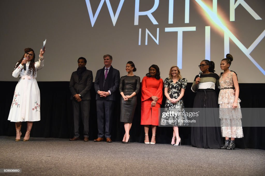 Ava DuVernay speaks on stage as Tendo Nagenda, Jim Whitaker, Gugu Mbatha-Raw, Mindy Kaling, Reese Witherspoon, Oprah Winfrey, and Storm Reid react O, The Oprah Magazine hosts special NYC screening of 'A Wrinkle In Time' at Walter Reade Theater at Walter Reade Theater on March 7, 2018 in New York City.