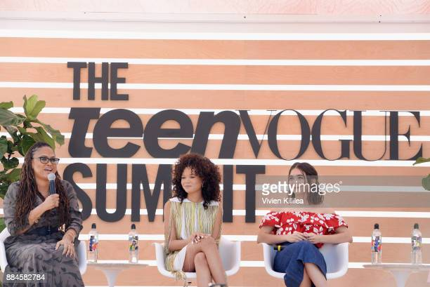 Ava DuVernay Storm Reid and Rowan Blanchard speak onstage during The Teen Vogue Summit LA Keynote Conversation with A Wrinkle In Time director Ava...
