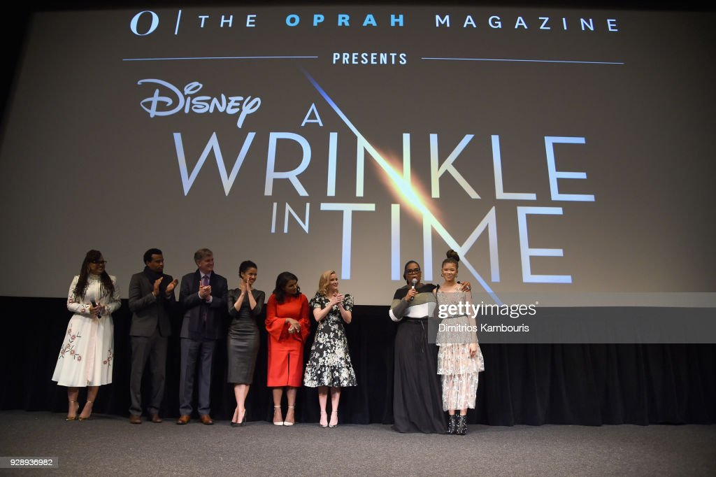 Ava DuVernay, Tendo Nagenda, Jim Whitaker, Gugu Mbatha-Raw, Mindy Kaling, Reese Witherspoon, Oprah Winfrey, and Storm Reid rspeak on stage as O, The Oprah Magazine hosts special NYC screening of 'A Wrinkle In Time' at Walter Reade Theater at Walter Reade Theater on March 7, 2018 in New York City.