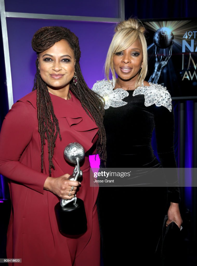 Ava DuVernay, winner of Entertainer of the Year, and Mary J. Blige attend the 49th NAACP Image Awards at Pasadena Civic Auditorium on January 15, 2018 in Pasadena, California.