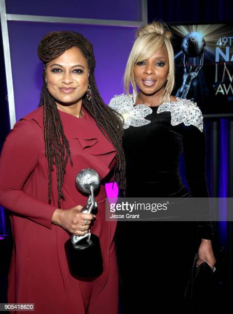Ava DuVernay winner of Entertainer of the Year and Mary J Blige attend the 49th NAACP Image Awards at Pasadena Civic Auditorium on January 15 2018 in...